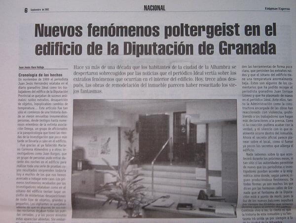 Noticia de prensa sobre fenómenos del fantasma de la Diputación de Granada