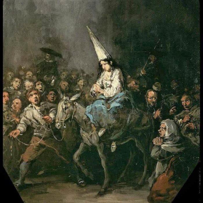 Retrato del auto de fe en la Inquisición